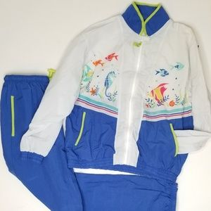 Vintage 90s Catalina Track Suit Bright Tropical
